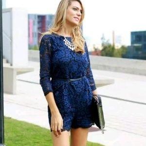 Zara NWT Sz: S Blue Floral Lace Jumpsuit with Belt